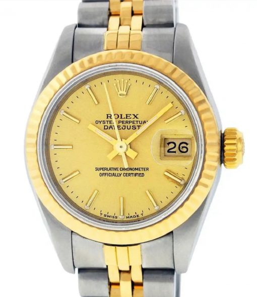 Ladies 14k Yellow Gold/Steel Rolex Oyster Perpetual DateJust 26mm
