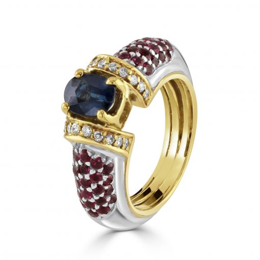 18kt White/Yellow Gold Sapphire, Ruby and Diamond Ring