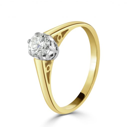 14k Yellow Gold Diamond Solitaire Engagement Ring 0.30ct